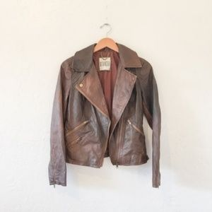BB Dakota Leather Moto Jacket - BRN, Sz. Small